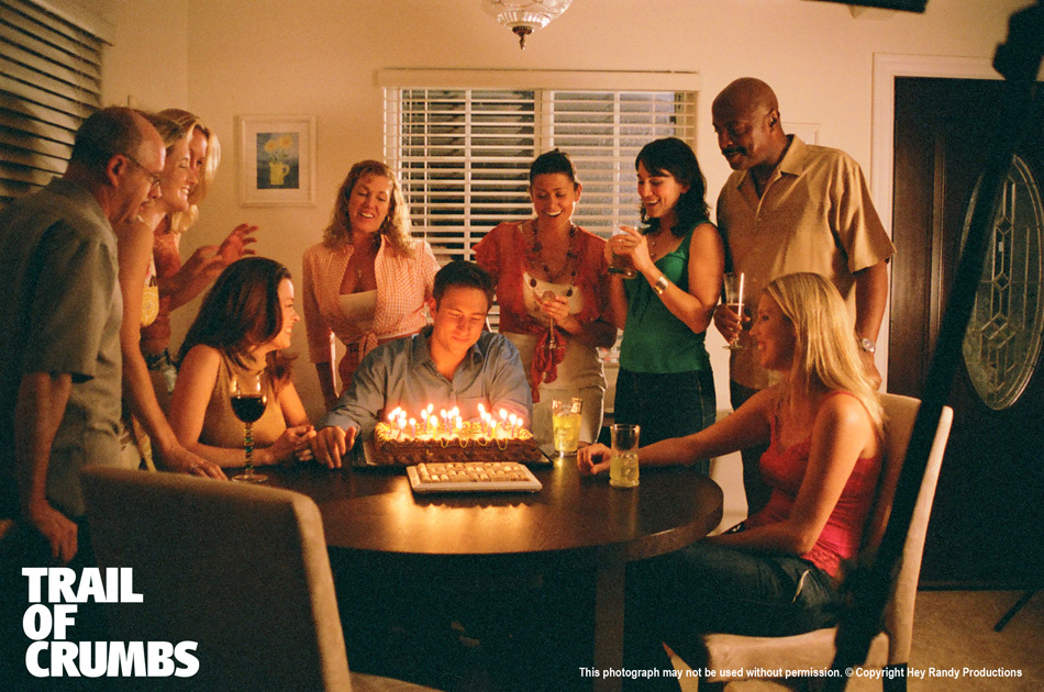 Trail of Crumbs cast photo, birthday scene